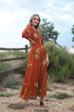 Veronica Embroidered Terracotta Peasant Dress - 3