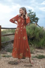 Veronica Embroidered Terracotta Peasant Dress - 4