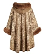 Winter Faux Fur Hooded Cape Shawl Wraps - 2