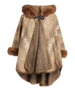 Winter Faux Fur Hooded Cape Shawl Wraps - 1