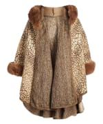 Winter Faux Fur Hooded Cape Shawl Wraps - 3