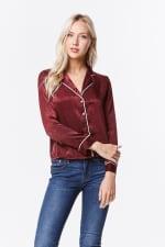 Women's Satin Pajama Shirt Top - 5