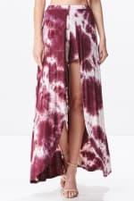 Front Open Tie Dye Rayon Spandex Maxi Skirt - 5