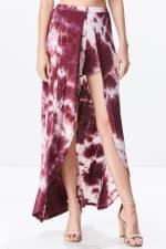 Front Open Tie Dye Rayon Spandex Maxi Skirt - 1