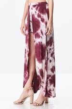 Front Open Tie Dye Rayon Spandex Maxi Skirt - 3