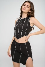 Colored Edge Matching Skirt and Top  Set - 3