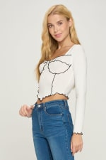 Bustier Style Long Sleeve Top - 3
