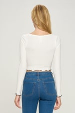 Bustier Style Long Sleeve Top - 2