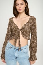 Tie Front Long Sleeve Crop Ditsy Floral Top - 9