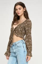 Tie Front Long Sleeve Crop Ditsy Floral Top - 8