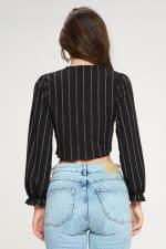Tie Front Crop With Stripe Print Top - 2