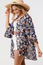 Loose Fit Kimono In Chiffon Duster Top - 4