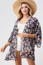Loose Fit Kimono In Chiffon Duster Top - 3