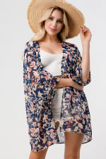 Loose Fit Kimono In Chiffon Duster Top - 1