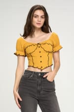 Bustier Style With Puff Sleeves And Lettuce Top - 6