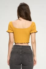 Bustier Style With Puff Sleeves And Lettuce Top - 7