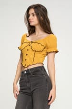 Bustier Style With Puff Sleeves And Lettuce Top - 8