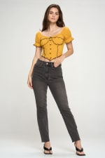 Bustier Style With Puff Sleeves And Lettuce Top - 10