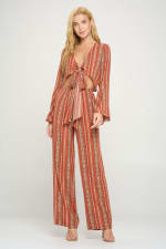 Bell Sleeves Cop Tie Top And Palazzo Pants Set - 10