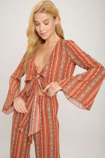 Bell Sleeves Cop Tie Top And Palazzo Pants Set - 9