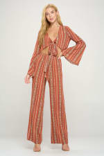 Bell Sleeves Cop Tie Top And Palazzo Pants Set - 6