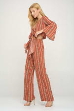 Bell Sleeves Cop Tie Top And Palazzo Pants Set - 8