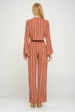 Bell Sleeves Cop Tie Top And Palazzo Pants Set - 7