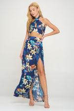 Halter Crop Top Maxi Skirt With Slit Tropical Set - 4