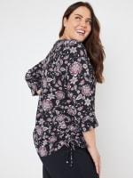 Roz & Ali Floral Side Tie Popover Blouse - Plus - 2