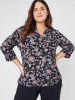 Roz & Ali Floral Side Tie Popover Blouse - Plus - 8