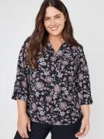 Roz & Ali Floral Side Tie Popover Blouse - Plus - 1