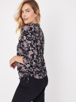 Roz & Ali Floral Side Tie Popover Blouse - 6