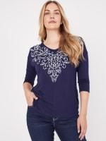 Westport V-Neck Puff Print Knit Top - 1