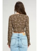 Tie Front Long Sleeve Crop Ditsy Floral Top - 7