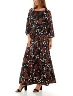 Adrienne Vittadini Three Quarter Sleeve Maxi Dress - 1