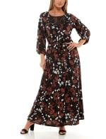 Adrienne Vittadini Three Quarter Sleeve Maxi Dress - 3