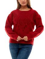 Adrienne Vittadini Long Sleeve With Fringe Sweater - 11