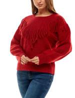 Adrienne Vittadini Long Sleeve With Fringe Sweater - 14