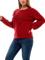 Adrienne Vittadini Long Sleeve With Fringe Sweater - 13
