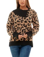 Adrienne Vittadini Long Sleeve With Split Neck Pullover Sweater - 1