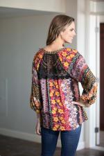 Figuerora & Flower Lace Back Button Front Peasant Top - 2