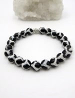 Jewels For Hope White And Black Agate Tibetan Style Stretch Bracelet - 1