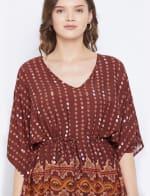 2-Piece Top and Bottom Rayon Co-Ord Multi Color Pajama Set - Plus - 3