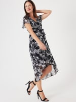 High Low Black/Taupe Floral Mesh Wrap Dress - 5