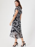 High Low Black/Taupe Floral Mesh Wrap Dress - 7