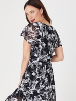 High Low Black/Taupe Floral Mesh Wrap Dress - 8