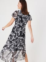 High Low Black/Taupe Floral Mesh Wrap Dress - 2