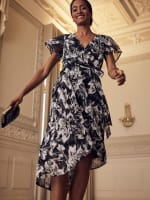 High Low Black/Taupe Floral Mesh Wrap Dress - 4