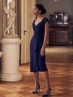 Surplice Metallic Knit Ruffle Front Dress - 6