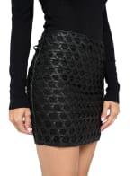 Vegan Leather Weave Skirt - 4